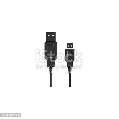 USB Micro cables icon isolated. Connectors and sockets for PC and mobile devices. Computer peripherals connector or smartphone recharge supply. Flat design. Vector Illustration