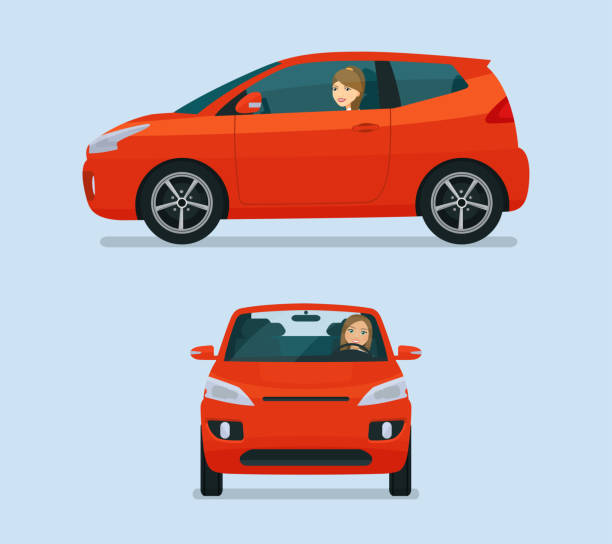 Micro car two angle set. Car with driver woman side view and front view. Vector flat style illustration. vector art illustration