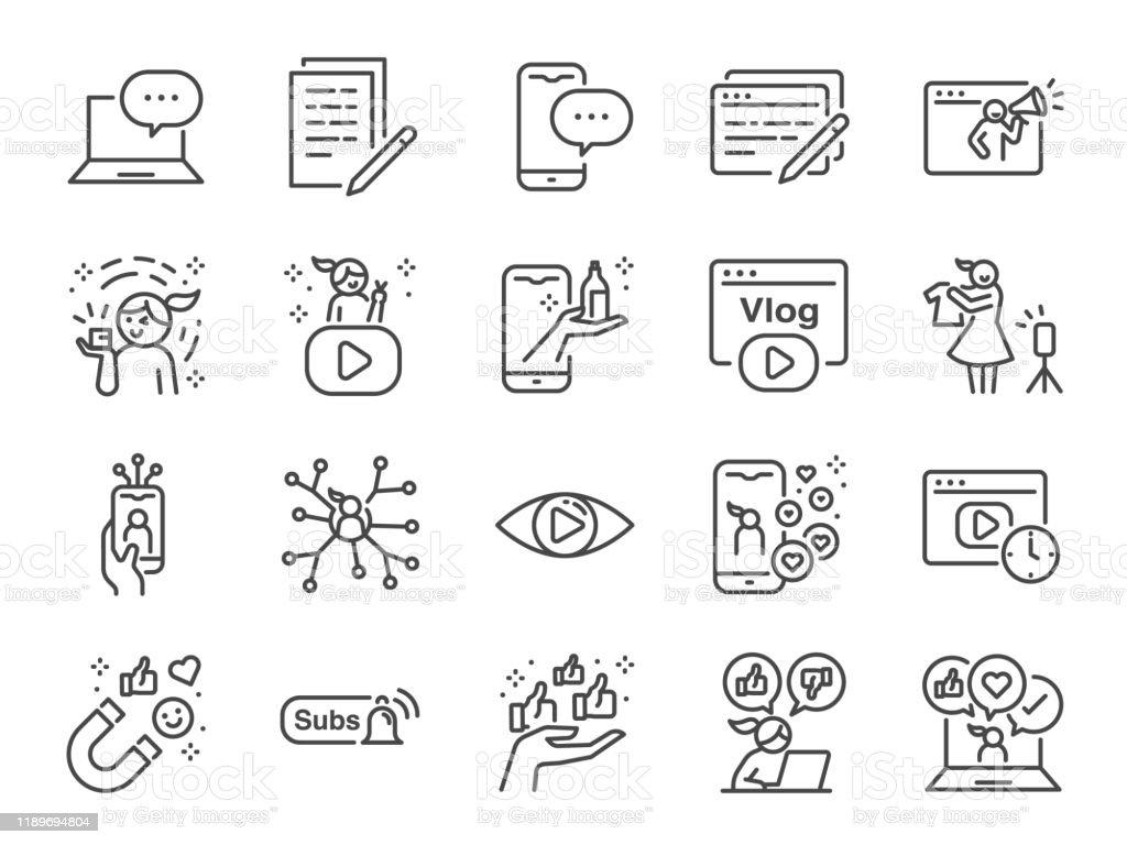 Micro influencer i blog line icon set. Zawiera ikony jako recenzje, media społecznościowe, reklamy, współczynniki wyświetlania, takie jak vlog i inne. - Grafika wektorowa royalty-free (Aplikacja mobilna)
