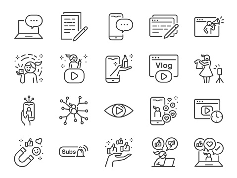 Micro influencer and blog line icon set. Included icons as reviews, social media, advertisement, view rates, like, vlog and more.