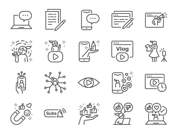 마이크로 인플루언서 및 블로그 라인 아이콘 세트. 리뷰, 소셜 미디어, 광고, 조회수 율, 좋아요, 동영상 블로그 등으로 아이콘을 포함시켰습니다. - 컴퓨터 그래픽 stock illustrations