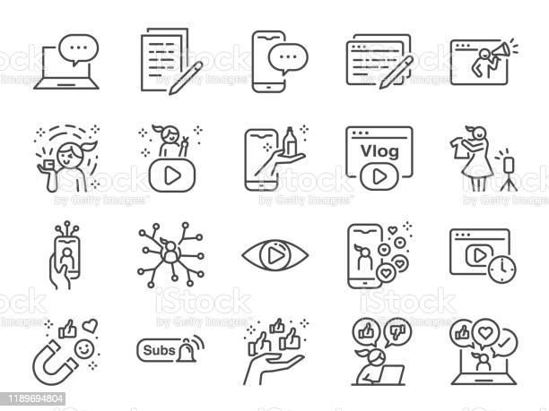 Micro Influencer I Blog Line Icon Set Zawiera Ikony Jako Recenzje Media Społecznościowe Reklamy Współczynniki Wyświetlania Takie Jak Vlog I Inne - Stockowe grafiki wektorowe i więcej obrazów Aplikacja mobilna
