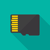 Micro SD Card Back Icon Flat