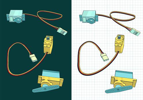 Micro servos color drawings