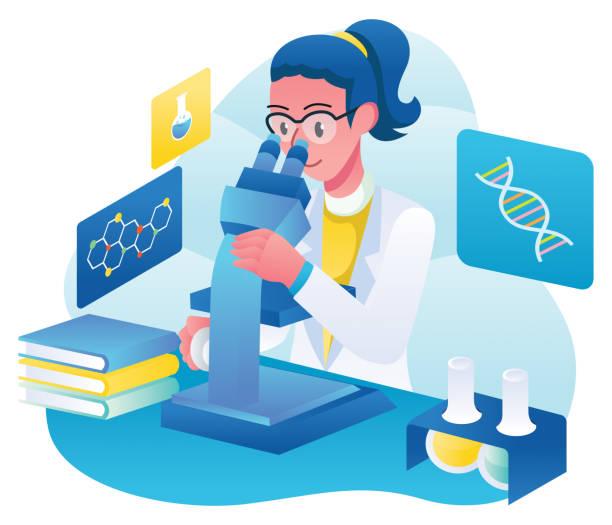 Microbiologist at Work Flat design illustration with female microbiologist at work. microbiologist stock illustrations