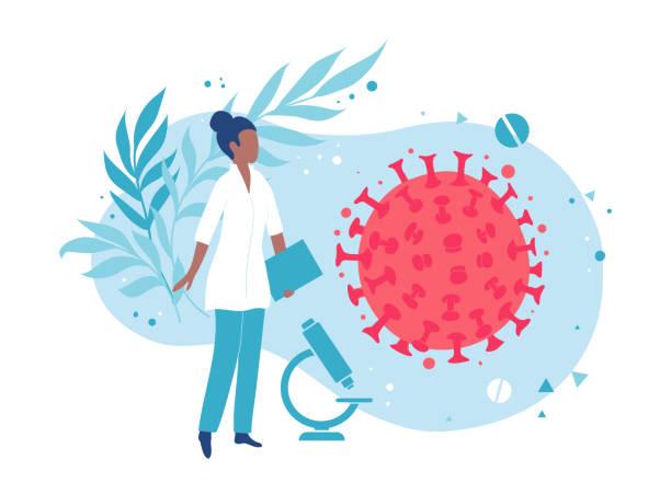 미생물학자 또는 바이러스 학자는 바이러스를 검사합니다. 실험실 세균 분석 - covid testing stock illustrations