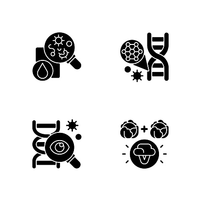 Microbiology black glyph icons set on white space