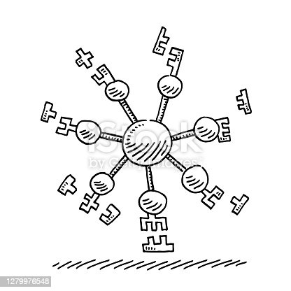 Hand-drawn vector drawing of a Microbiology Docking Connection Infographic. Black-and-White sketch on a transparent background (.eps-file). Included files are EPS (v10) and Hi-Res JPG.