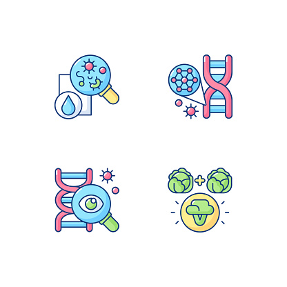Microbiology RGB color icons set