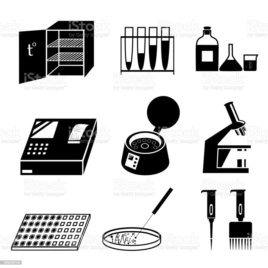 Microbiology test analysis vector icons vector art illustration