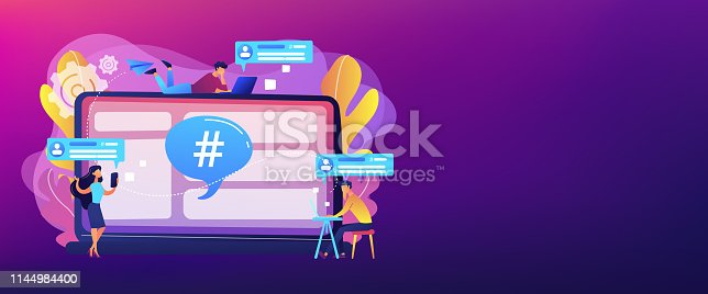 Tiny people customers receive messages from microblogging service. Microblog platform, microblogging market, microblog marketing service concept. Header or footer banner template with copy space.