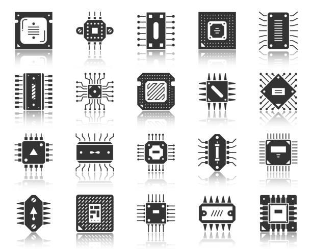 mikroçip siyah simge mikroişlemci cpu vektör seti - cpu stock illustrations