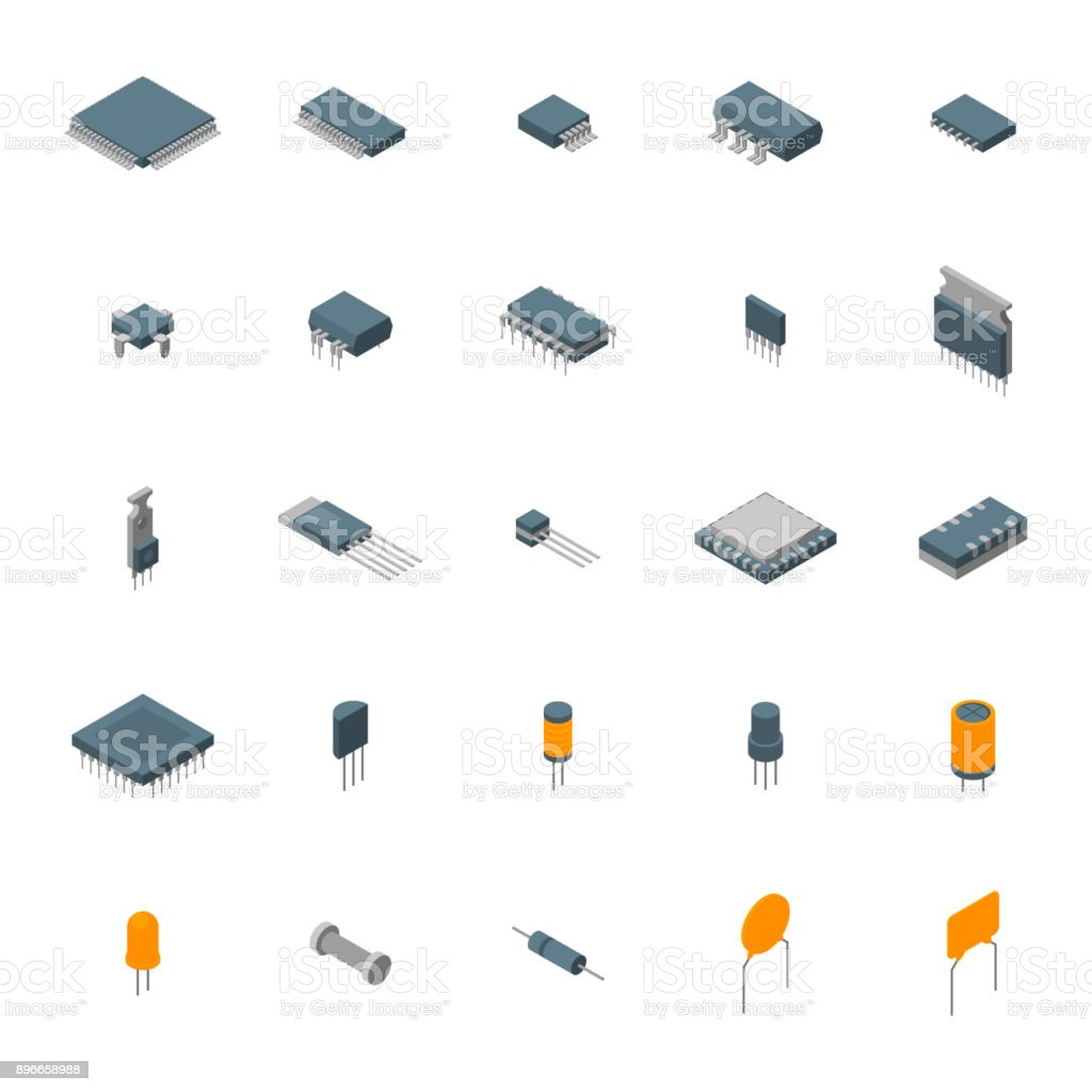 Microchip Computer Electronic Components Icons Set Isometric View. Vector vector art illustration
