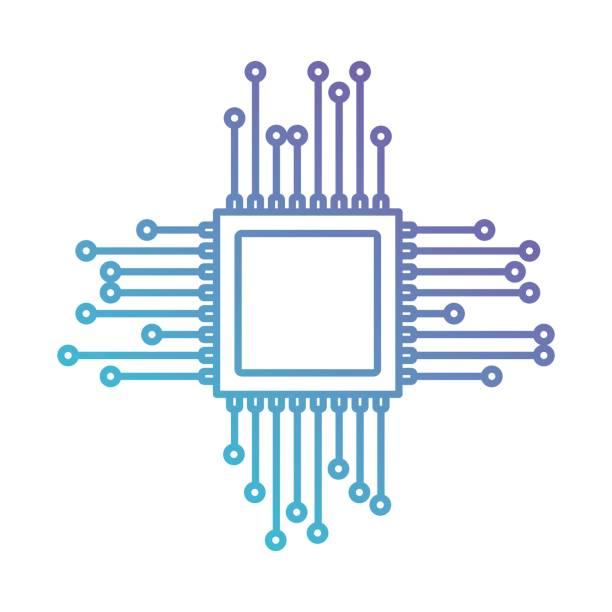 mikroçip kutsal kişilerin resmi--dan mavi mor renk gradyan siluet içinde - bilgisayar yongası stock illustrations