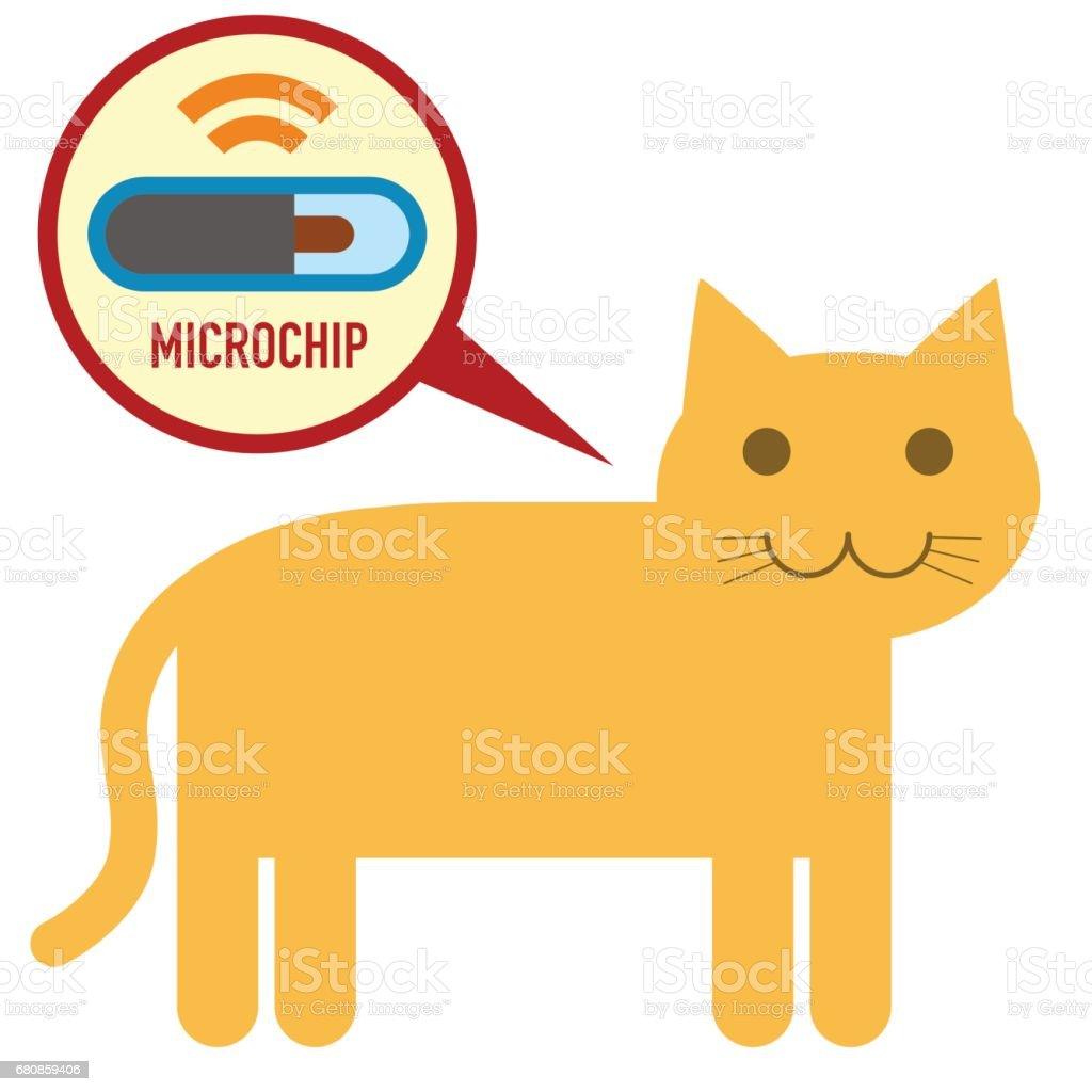 microchip in cat sign icon vector art illustration