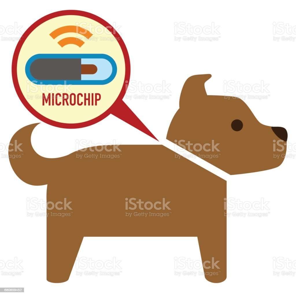 microchip in dog sign icon vector art illustration