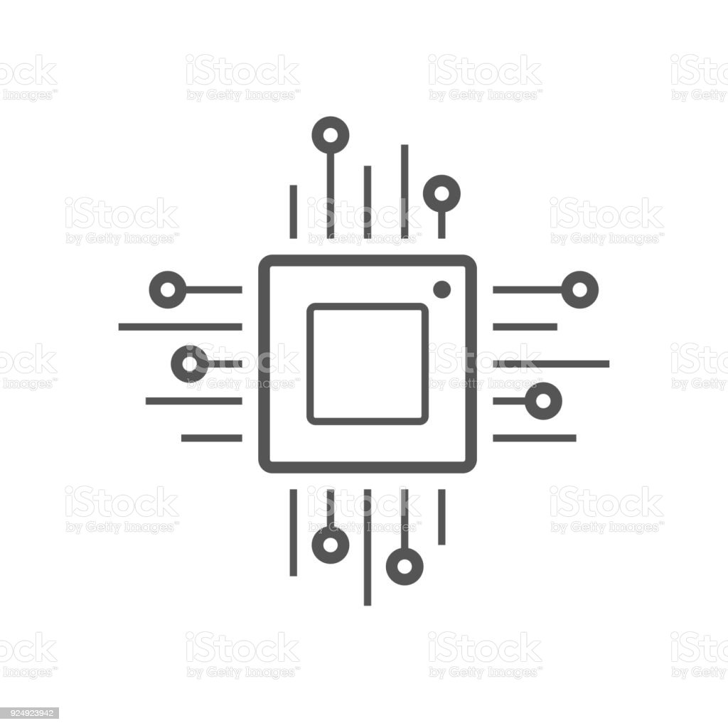Microchip line icon. CPU, Central processing unit, computer processor, chip symbol in circle. Simple round icon isolated on black background. Creative modern vector logo vector art illustration