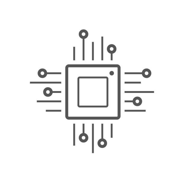 mikroçip satırı simgesi. cpu, merkezi işlem birimi, bilgisayar işlemci, yonga simgesi daire içinde. basit yuvarlak simge siyah arka plan üzerine izole. yaratıcı modern vektör logosu - cpu stock illustrations