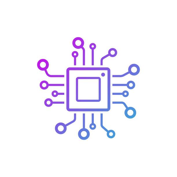 mikroçip satırı simgesi. cpu, merkezi işlem birimi, bilgisayar işlemci, yonga simgesi daire içinde. soyut teknoloji logosunu görmeniz gerekir. basit yuvarlak simge siyah arka plan üzerine izole. yaratıcı modern vektör logosu - bilgisayar yongası stock illustrations