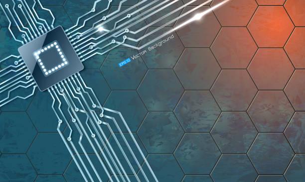 Mikrochip auf Grange Hintergrund – Vektorgrafik