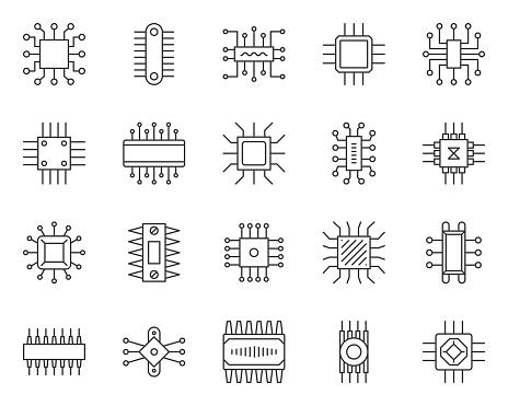 Microchip simple black line icons vector set