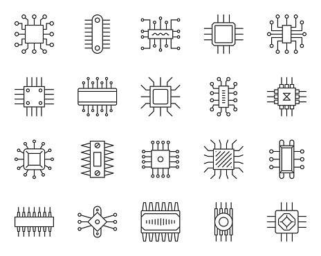 Micro chip thin line icon set. Outline sign kit of cpu. PC component linear icons of abstract circuit, hi tech, electronic technology. Computer core simple contour symbol isolated. Vector Illustration