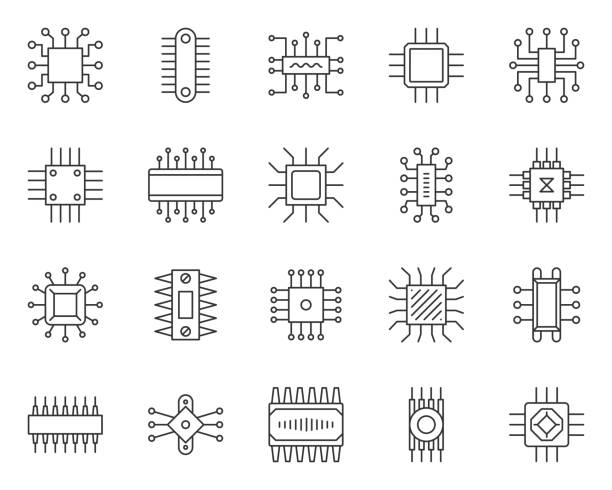 Microchip simple black line icons vector set Micro chip thin line icon set. Outline sign kit of cpu. PC component linear icons of abstract circuit, hi tech, electronic technology. Computer core simple contour symbol isolated. Vector Illustration computer chip stock illustrations
