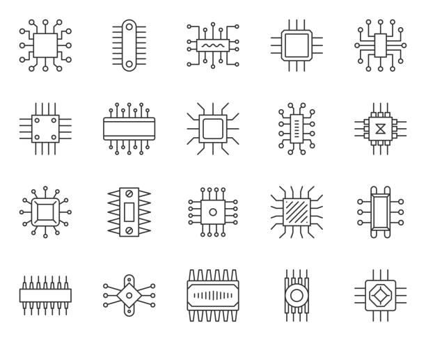 microchip simple black line icons vector set - понятия и темы stock illustrations