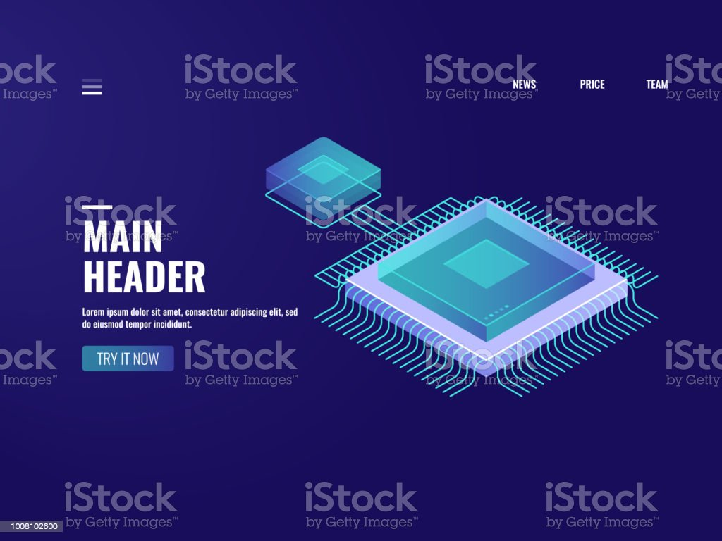 Microelectronic computer chip icon, data computing process, server room, cloud storage, database, digital technology of future, isometric illustration vector neon royalty-free microelectronic computer chip icon data computing process server room cloud storage database digital technology of future isometric illustration vector neon stock illustration - download image now