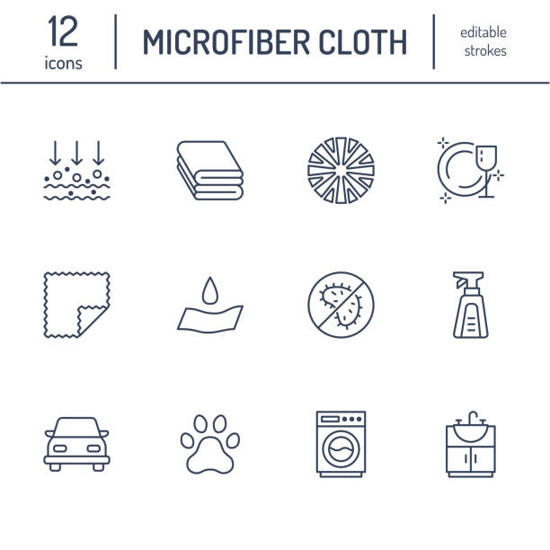 Microfiber cloth properties flat line icons. Absorbing material, dust cleaning, washable, antibacterial, clean detergent illustrations. Thin signs for napkin package. Editable Strokes Microfiber cloth properties flat line icons. Absorbing material, dust cleaning, washable, antibacterial, clean detergent illustrations. Thin signs for napkin package. Editable Strokes. porous stock illustrations