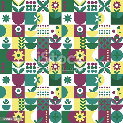 istock Microgreen pattern geometry in abstract style on green and pink background. Vector design template. Nature illustration. Botanical background. Flat style. Creative floral texture. 1330697471