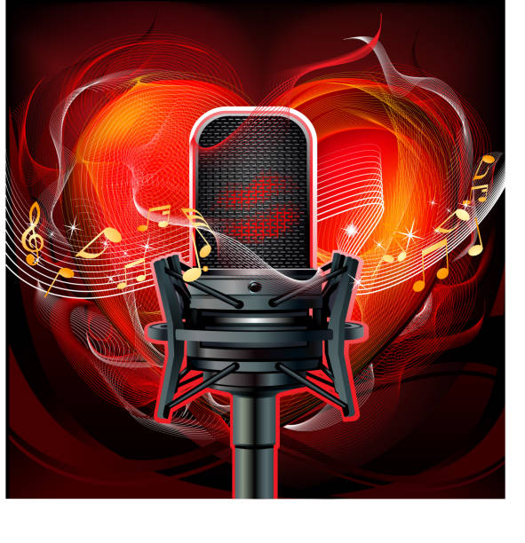 Microphone and musical notes vector art illustration