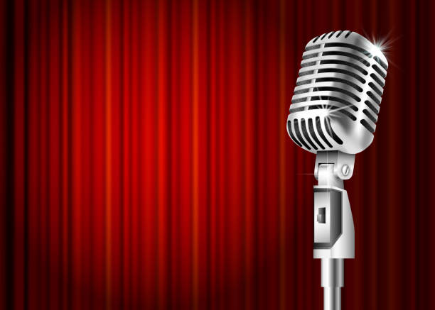 microphone and red curtain - comedian stock illustrations