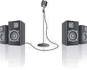 Microphone and speakers on a invisible white stage