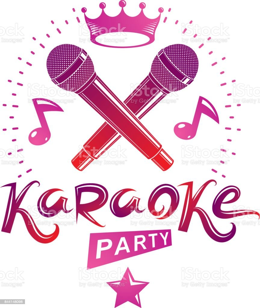 Microphone Audio Equipment Composed With Musical Notes Can Be Used Wiring Plans For Nightclub As Vector Emblem Karaoke
