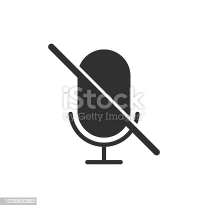 istock Microphone Audio Muted icon isolated on white background. Vector illustration. 1226800363