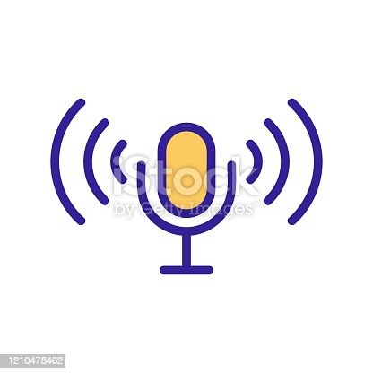 microphone control icon vector. Thin line sign. Isolated contour symbol illustration