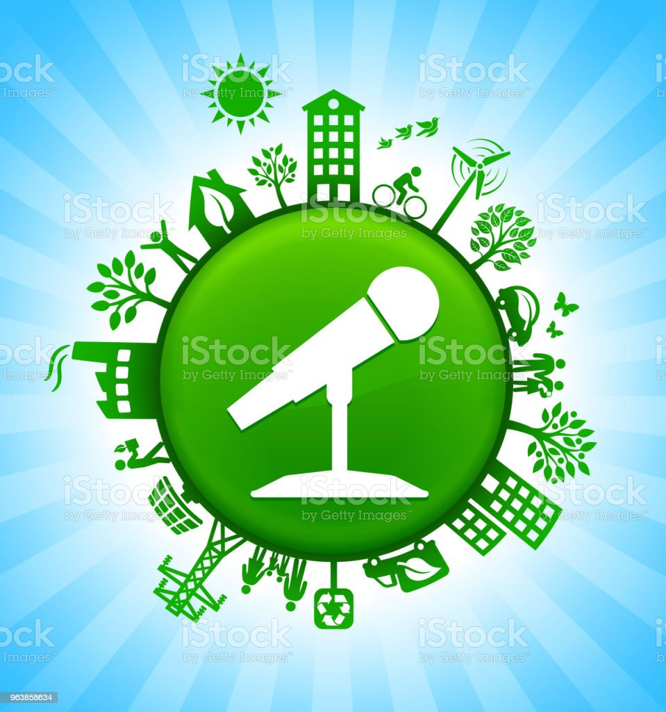 Microphone Environment Green Button Background on Blue Sky - Royalty-free Alternative Energy stock vector