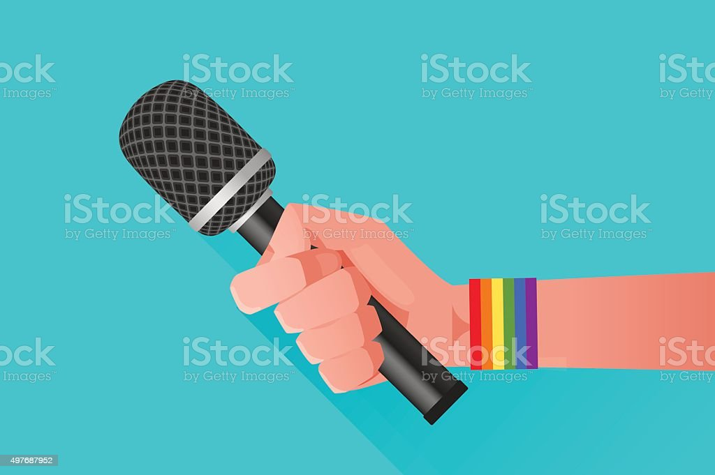 Microphone & Hand vector art illustration