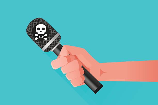 illustrazioni stock, clip art, cartoni animati e icone di tendenza di microfono & mano - deadly sings