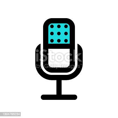 istock Microphone icon for studio recording 1304765234