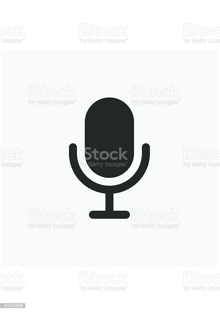 Mikrofonsymbol In Flachestil Isoliert Auf Grauem Hintergrund Vektor ...