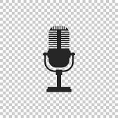 Microphone icon isolated on transparent background. Flat design. Vector Illustration