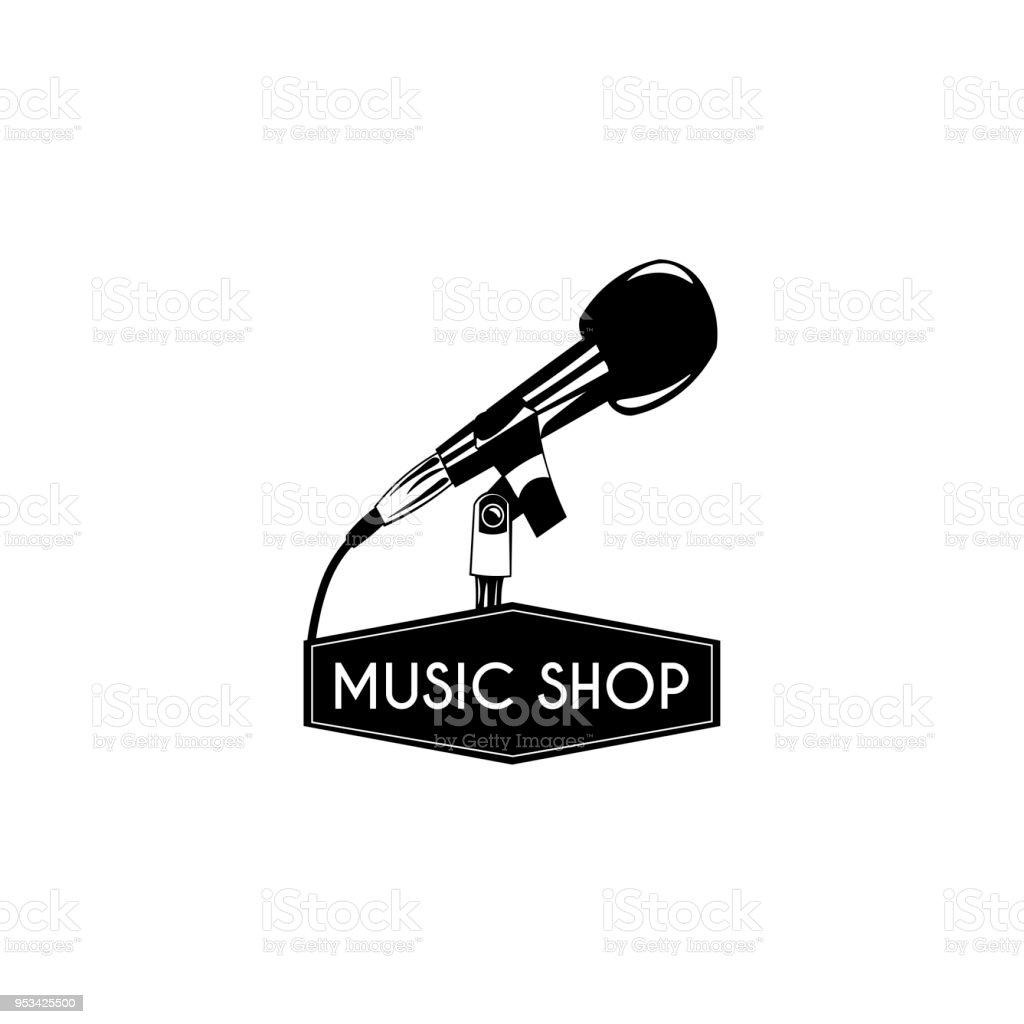 Microphone Icon Music Shop Symbol Label Music Store Emblem Vector