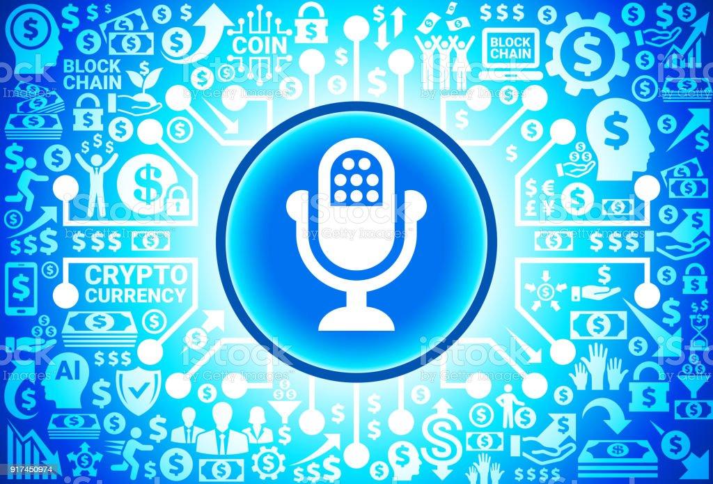 Mikrofonsymbol Auf Geld Und Kryptowährung Hintergrund Stock Vektor ...