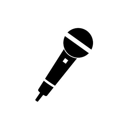 Microphone icon on white background. Mic silhouette. Music, voice, record icon. Recording studio symbol. Vector illustration.