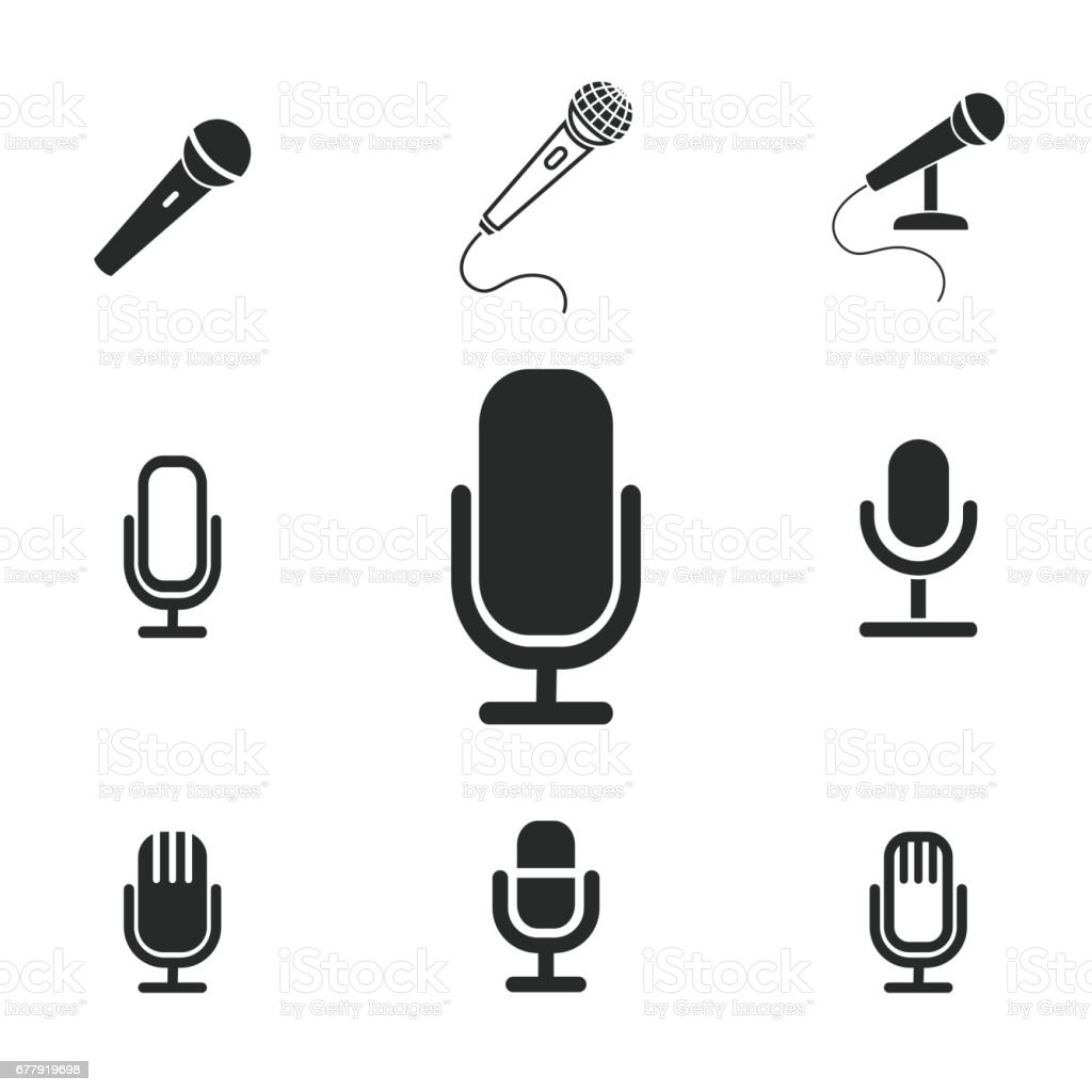 Microphone icon set. royalty-free microphone icon set stock vector art & more images of arts culture and entertainment