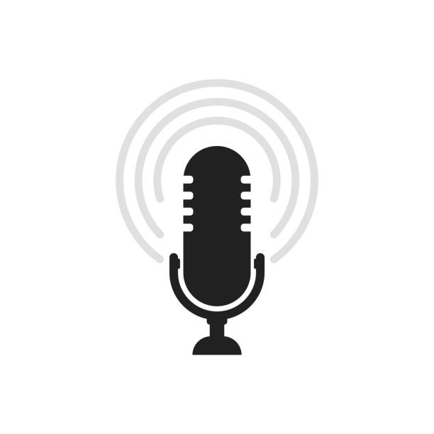 microphone icon. speaker vector. sound sign isolated on white background. simple illustration for web and mobile platforms - podcast stock illustrations