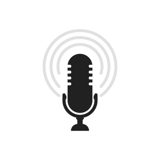 ilustrações, clipart, desenhos animados e ícones de ícone do microfone. vetor do altofalante. sinal sadio isolado no fundo branco. ilustração simples para plataformas web e móveis - podcast