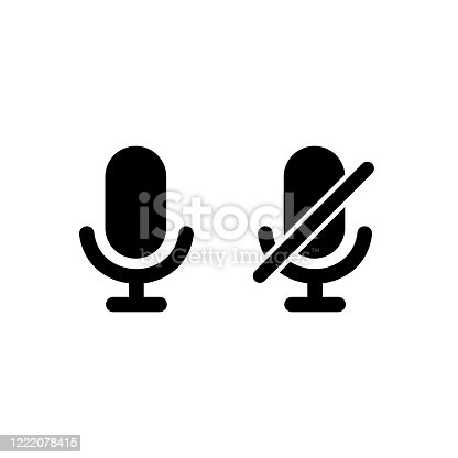 istock Microphone icon with turn off microphone for device simple design 1222078415